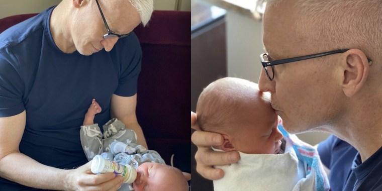 Anderson Cooper holds his newborn son, Wyatt.