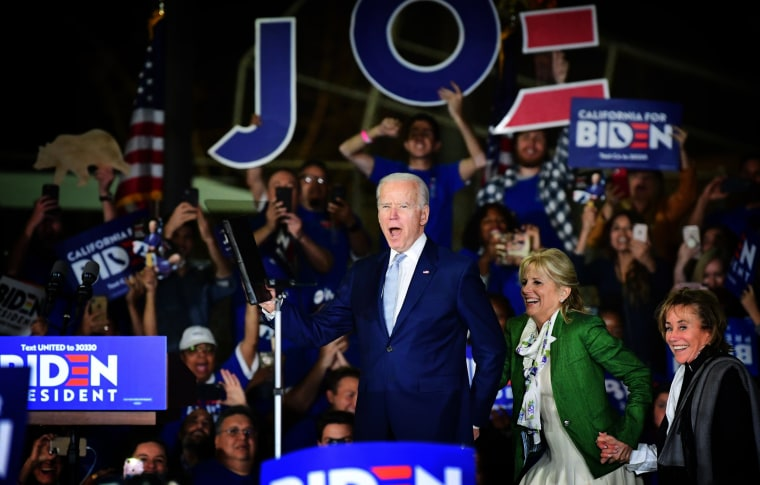 Image: Joe Biden arrives with his wife, Jill, and sister, Valerie, for a Super Tuesday rally in Los Angeles on March 3, 2020.