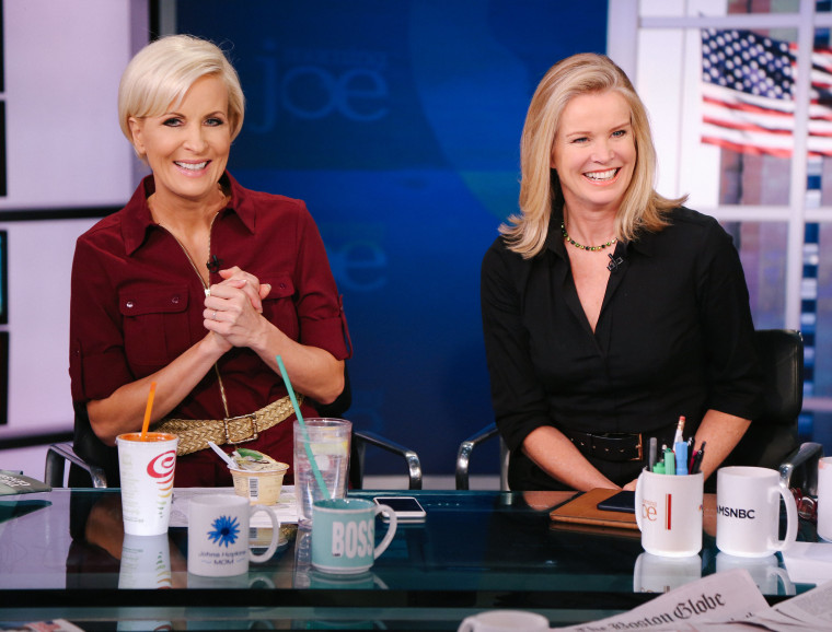"""""""Morning Joe"""" co-host and Know Your Value founder Mika Brzezinski, left with BBC presenter and MSNBC contributor Katty Kay, right."""