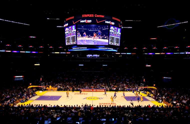 Image: The Staples Center court during a game between the Los Angeles Lakers and Golden State Warriors in 2012.