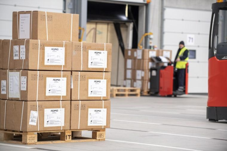Image: 300 ventilators arriving at MOD Donnington, a military logistics hub in Shropshire, from China