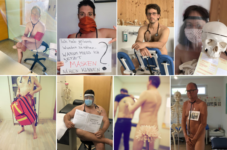 Image: A naked protest by German GPs because of lack of PPE during the covi=d 19 outbreak.