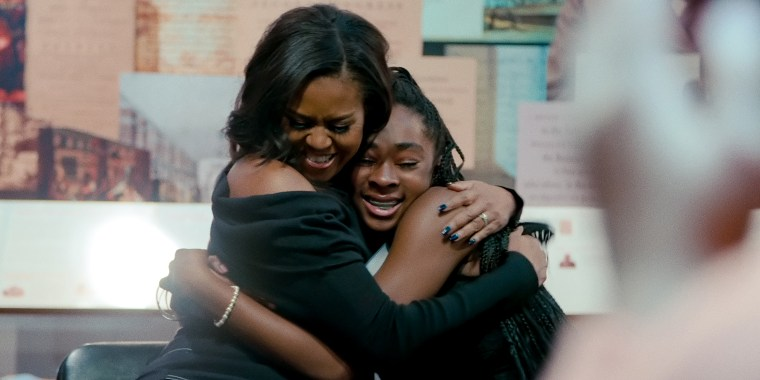 "Michelle Obama in ""Becoming,"" an intimate look into the life of the former first lady, on Netflix."