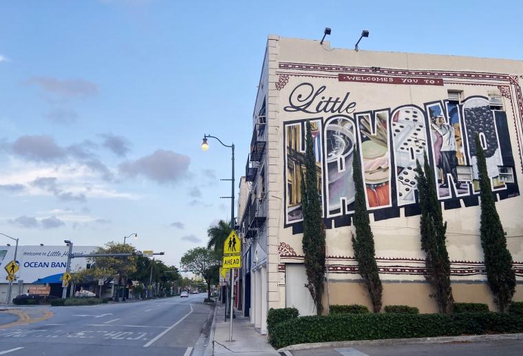 The famous Little Havana mural stands over an barren street.