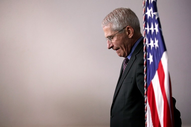 Image: Dr. Anthony Fauci listens during a coronavirus task force briefing at the White House on April 9, 2020.