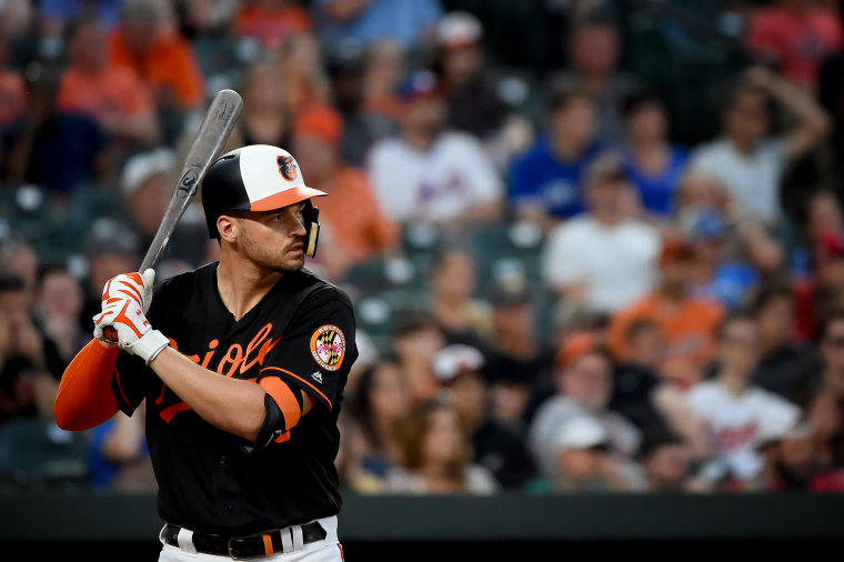 Image: Trey Mancini of the Baltimore Orioles at bat at Camden Yards in Maryland on Aug. 2, 2019.