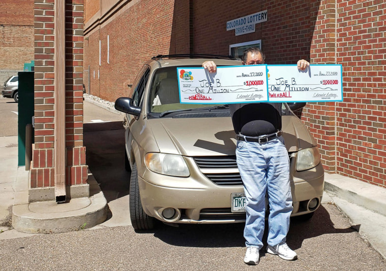 ""\""""Joe B"""" from Pueblo, Colo., claims the two $1 million Powerball prizes he won on March 25.""760|534|?|en|2|2a2b42e3139df63271e3890b207d8f10|False|UNLIKELY|0.3166501224040985