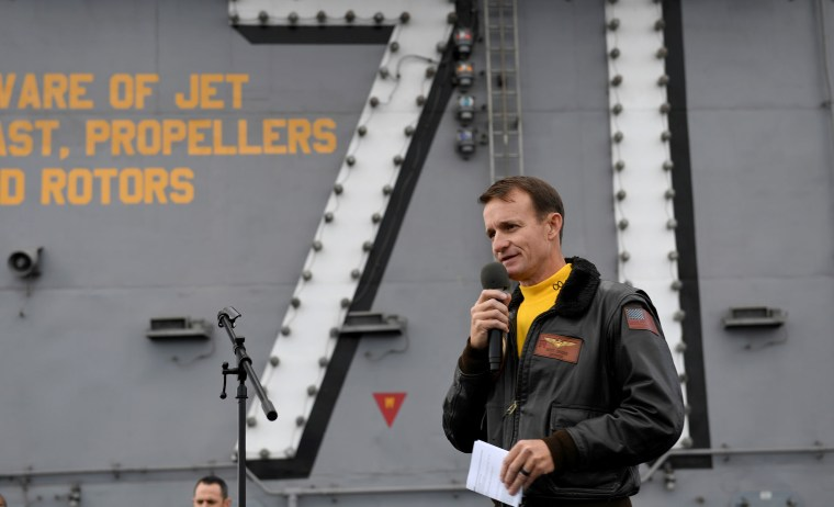 Captain Brett Crozier, commanding officer of the U.S. Navy aircraft carrier USS Theodore Roosevelt, speaks at sea