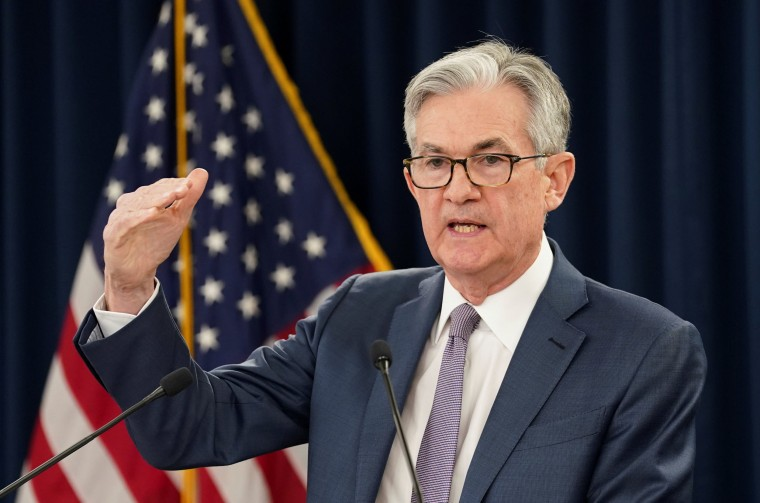 Federal Reserve Chairman Jerome Powell speaks to reporters on March 3, 2020.