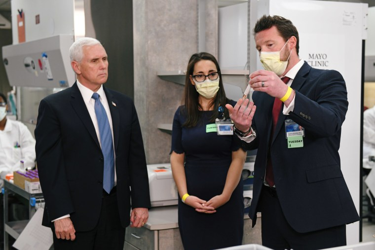 Vice President Mike Pence tours Mayo Clinic facilities supporting coronavirus disease research and treatment in Rochester, Minnesota