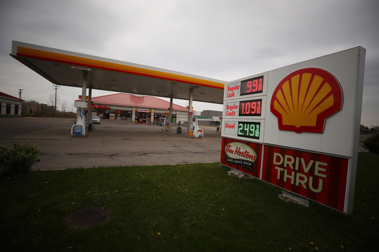 Image: A Shell gas station is seen with a sign displaying gas for $ 0.96 per gallon on April 24, 2020 in Southgate, Michigan.