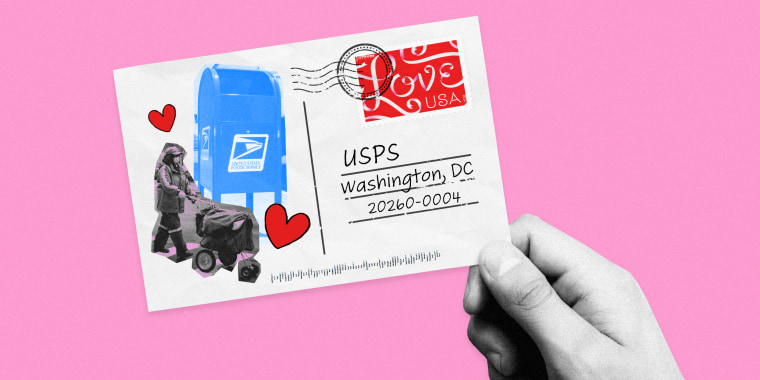 Image: A postcard with USPS and heart stickers.