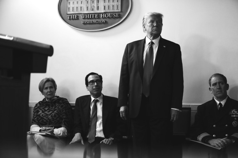 President Donald Trump during the Coronavirus Task Force news conference at the White House