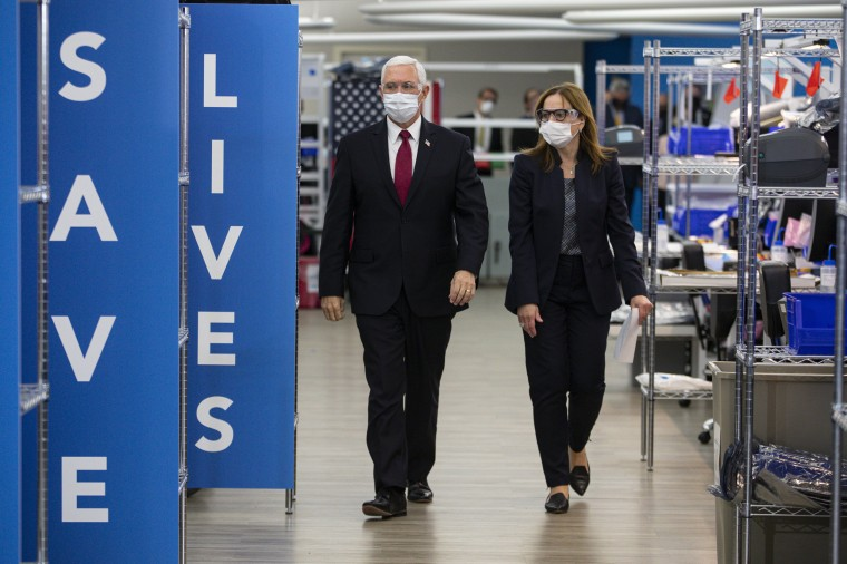 Image: Mike Pence, Mary Barra