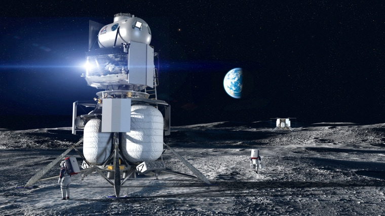 Image: Artist concept of the Blue Origin National Team crewed lander on the surface of the Moon.