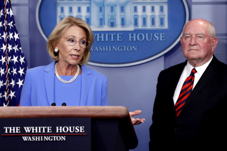 Education Secretary Betsy DeVos speaks about the coronavirus at the White House on March 27, 2020.