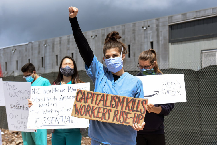 Image: Amazon Workers Strike Outside Staten Island Warehouse On May Day