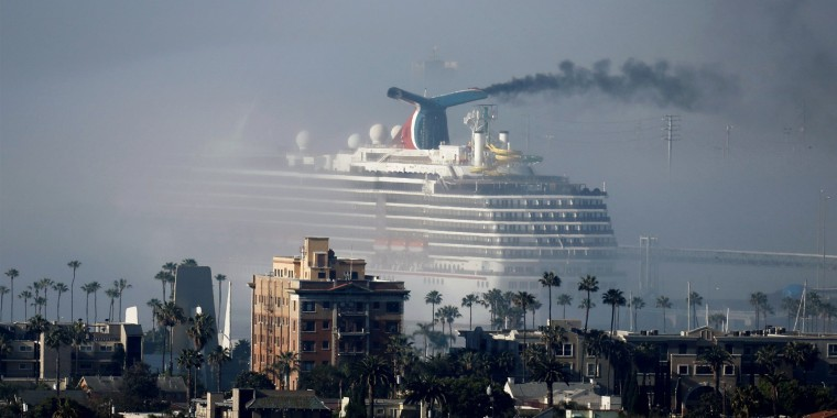 The Carnival Miracle cruise ship sits near the Long Beach port off the coast of California on April 23.