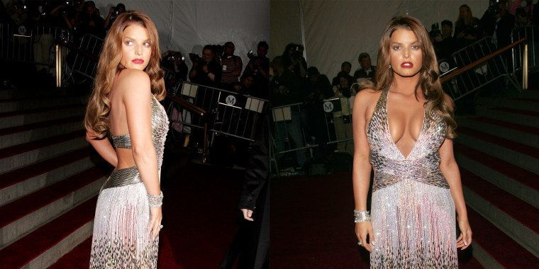 Simpson poses for photos at the 2007 Met Gala in a silver sparkly dress.