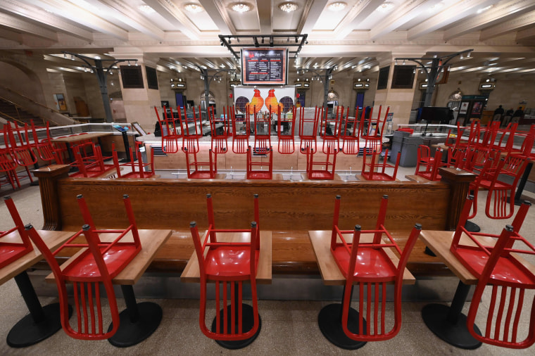 An empty restaurant at Grand Central Station on March 25, 2020 in New York City.