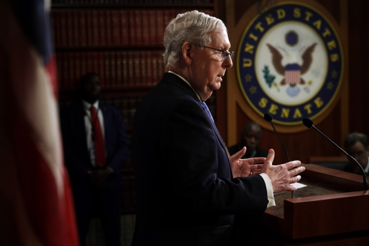 Image: Senate Majority Leader Mitch McConnell at a press conference on March 17, 2020.