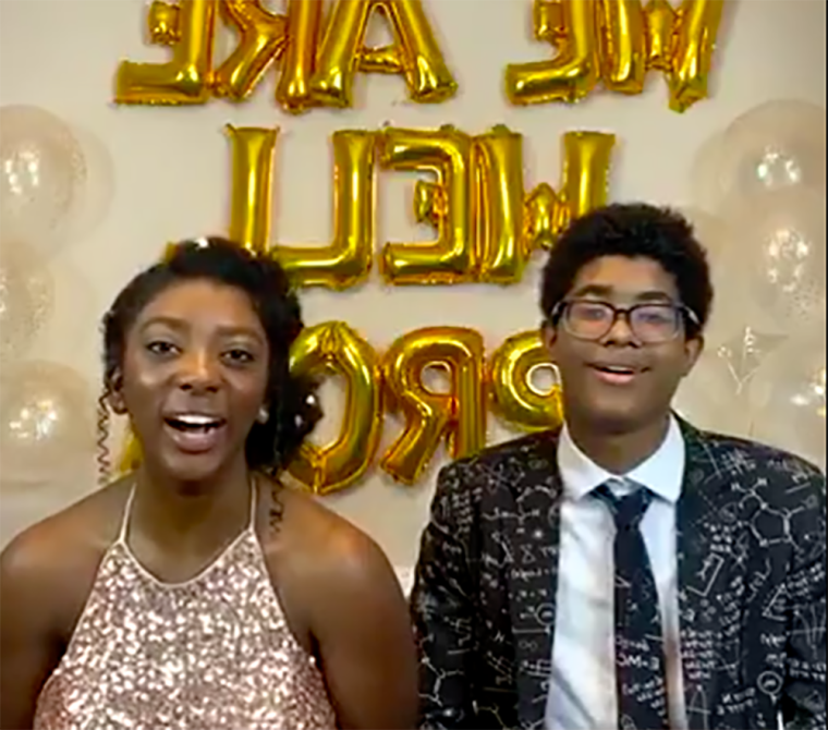 Image: Hannah, 18, and her brother Charlie, 15, hosted the virtual prom.