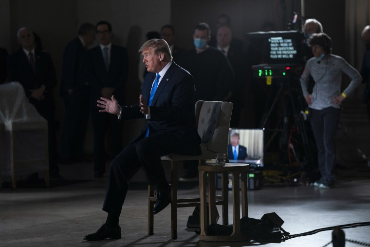 Image: President Donald Trump speaks during a Fox News virtual town hall from the Lincoln Memorial