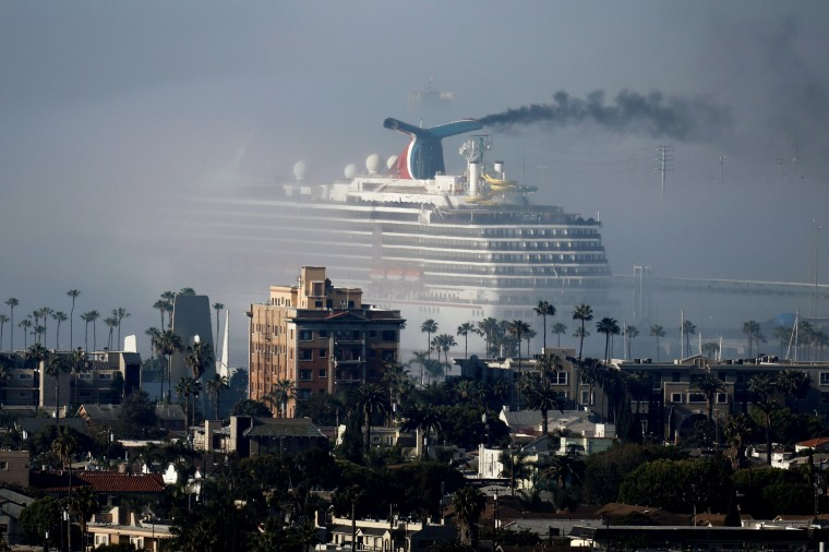 Image: The Carnival Miracle cruise ship sits near the Long Beach port off the coast of California on April 23, 2020.
