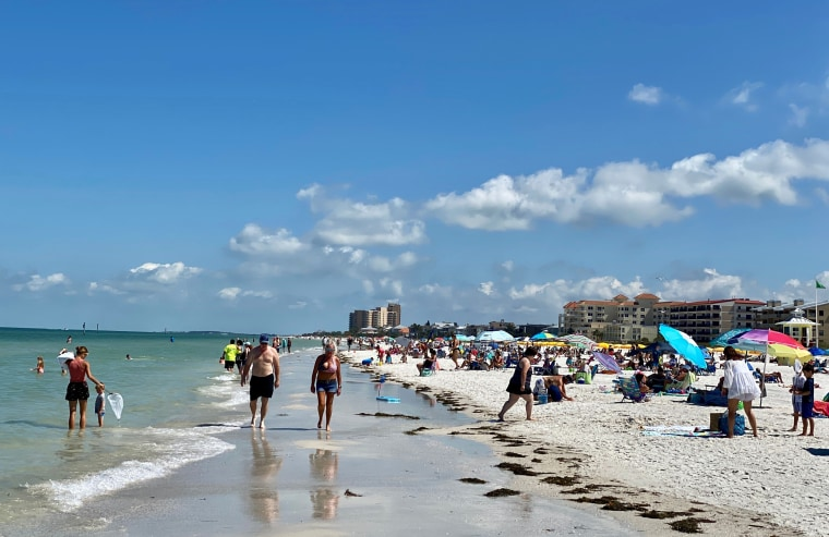 Image: People gather at Clearwater Beach after Florida eased social distancing restrictions on May 4, 2020.