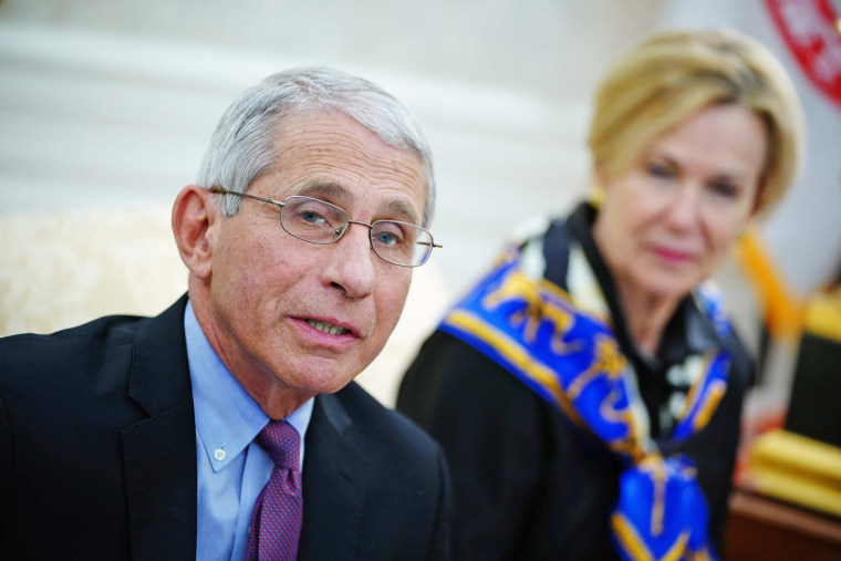 Dr. Anthony Fauci speaks in the Oval Office on April 29, 2020.