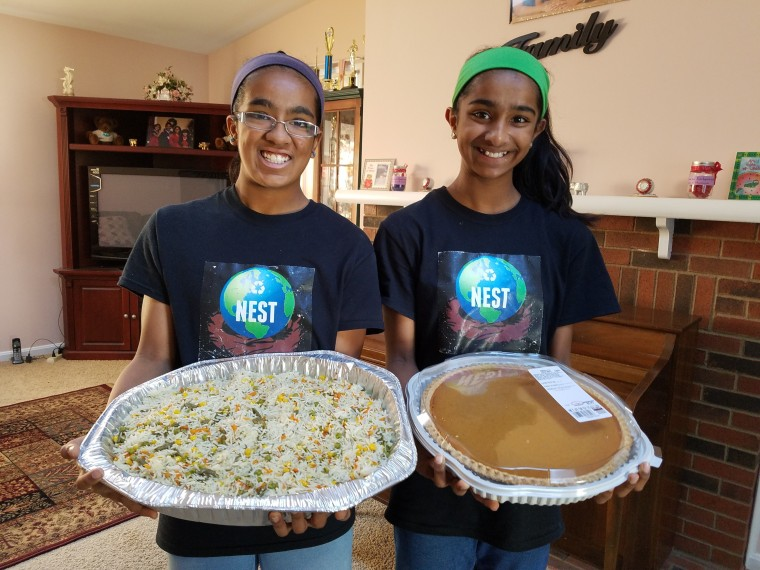 Shreyaa and Esha Venkat, founders of NEST 4 Us and Daily Point of Light Award honorees, focus on feeding the hungry. Now with COVID-19, they are doing food rescue from local stores and restaurants and contactless delivery for those in need