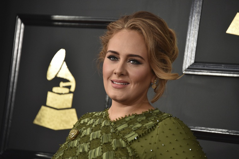 Image: Adele arrives at the 59th annual Grammy Awards at the Staples Center in Los Angeles.