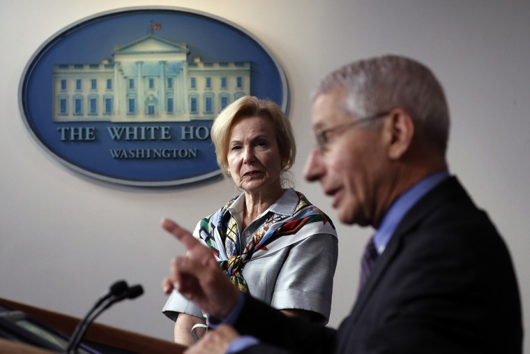 Anthony Fauci and Deborah Birx in the James Brady Press Briefing Room on April 9, 2020.