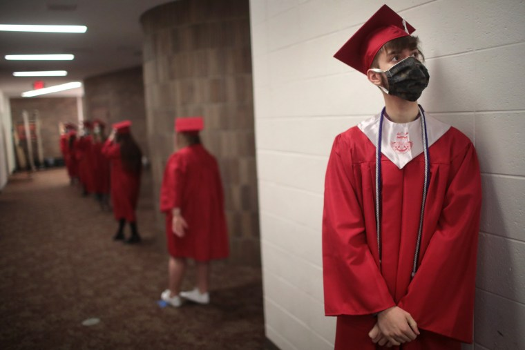Image: Illinois High School Holds Socially Distanced Graduation During Coronavirus Pandemic