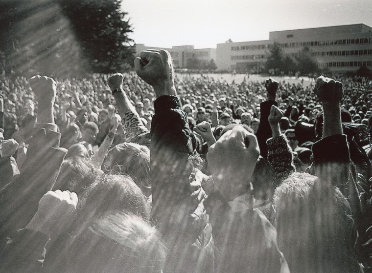 A protest at San Francisco State University in 1968.