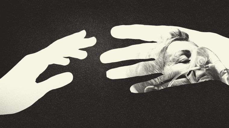 Photo illustration of two hands reaching for each other. In one of the hands, a sick older person is framed in the hand.