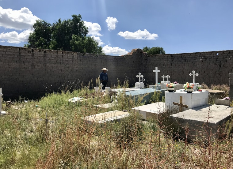 Isidro Martinez looks at the grave of his youngest son, Ricardo, who died in the San Antonio trailer.