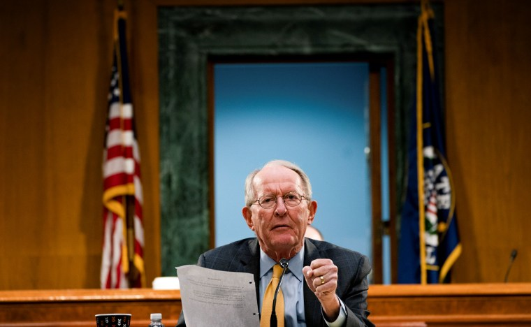 Image: Sen. Lamar Alexander, R-Tenn., speaks at a committee hearing on Capitol Hill on May 7, 2020.