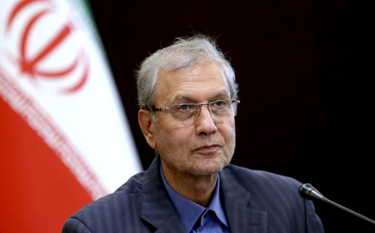 Image; Iranian government spokesman Ali Rabiei speaks at a briefing in Tehran in 2019.