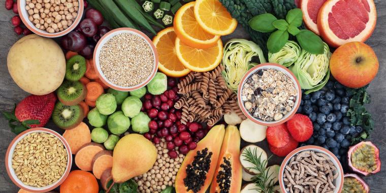 Fruits, vegetables and other high-fiber foods