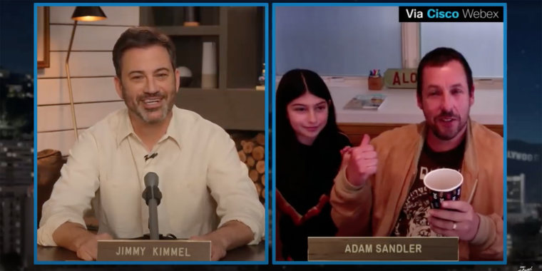 """Adam Sandler's 11-year-old daughter, Sunny, crashed his Monday night interview on """"Jimmy Kimmel Live."""""""