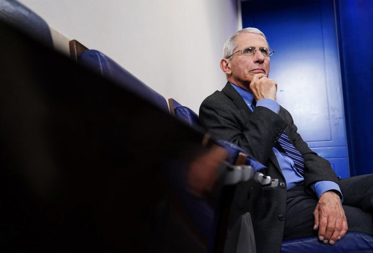 Image: Dr. Anthony Fauci attends daily coronavirus response briefing at the White House in Washington