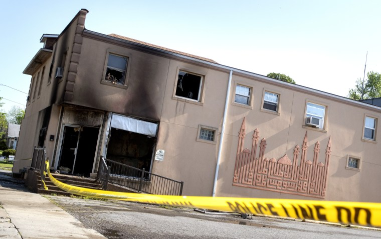 Damage to the Islamic Center of Cape Girardeau, Mo. after a fire on April 24, 2020.