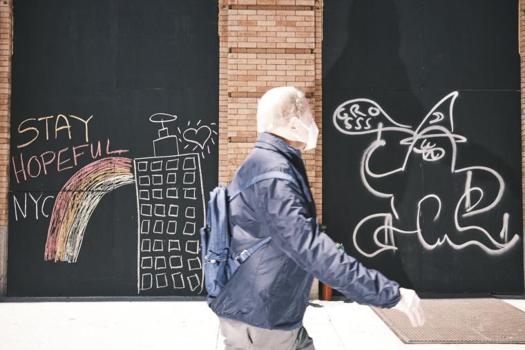 Graffiti on 7th Avenue, Manhattan on May 7, 2020. John Taggart for NBC