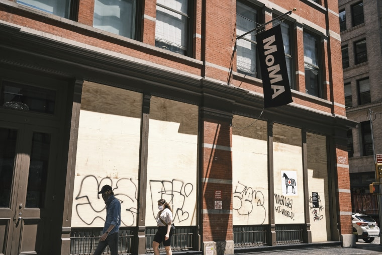 Moma boarded up in Soho, Manhattan on May 7, 2020. John Taggart for NBC