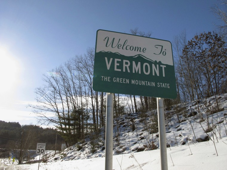 Image: A road sign welcoming drivers to Vermont in Wells River, Vt., on the New Hampshire border.