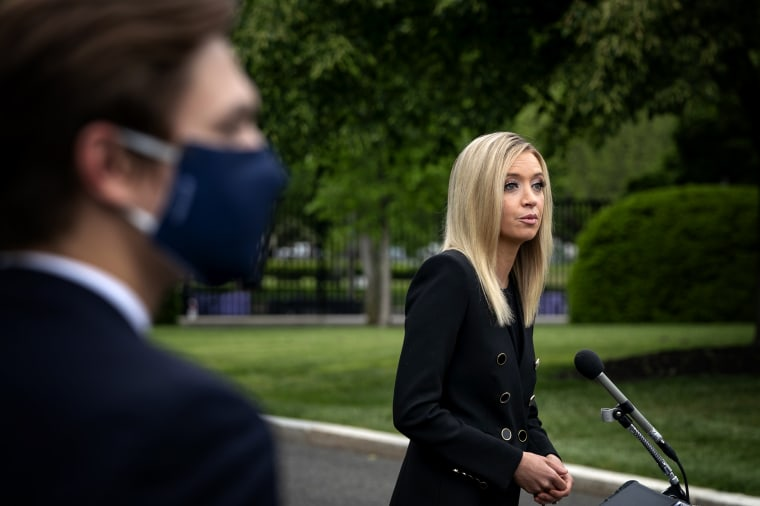 Image: White House Press Secretary Kayleigh McEnany speaks with reporters on May 14, 2020.