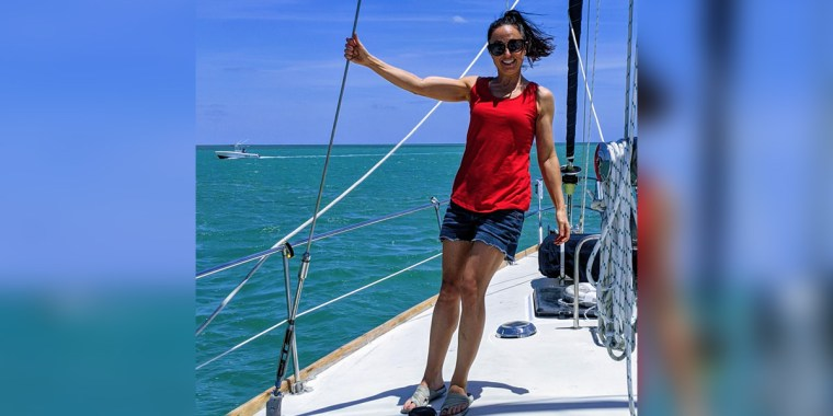 Psychotherapist and author Amy Morin on her sailboat.