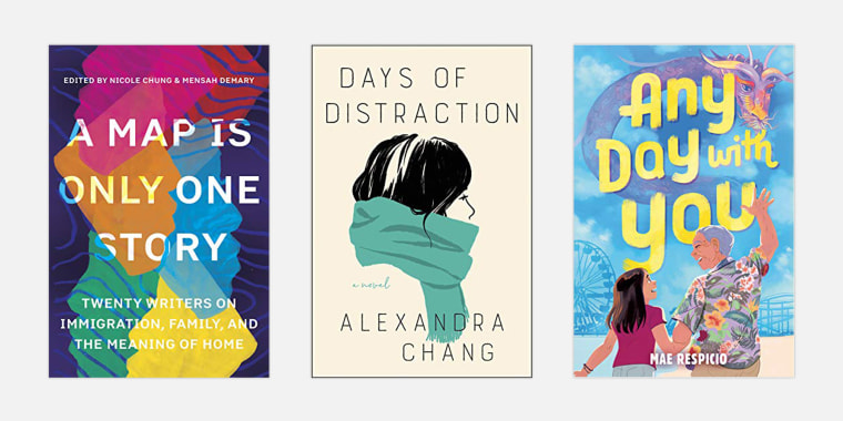Image: A Map Is Only One Story edited by Nicole Chung and Mensah Demary; Days of Distraction by Alexandra Chang;  Any Day With You by Mae Respicio