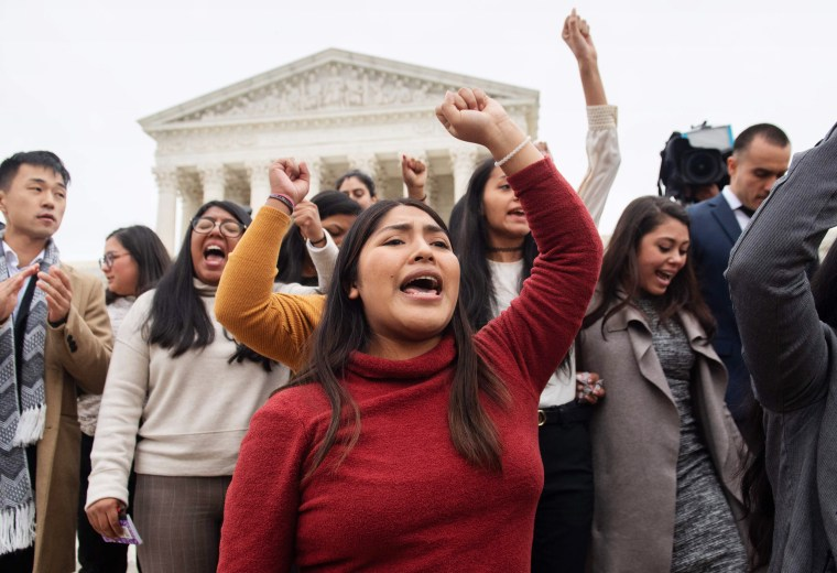 DACA activists rally in front of Supreme Court on Nov. 12, 2019, following arguments about ending the Obama-era program.